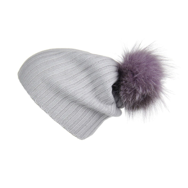 Ribbed Light Grey Cashmere Hat with Lilac Pom-Pom, Hat with Pom - Loveknitz
