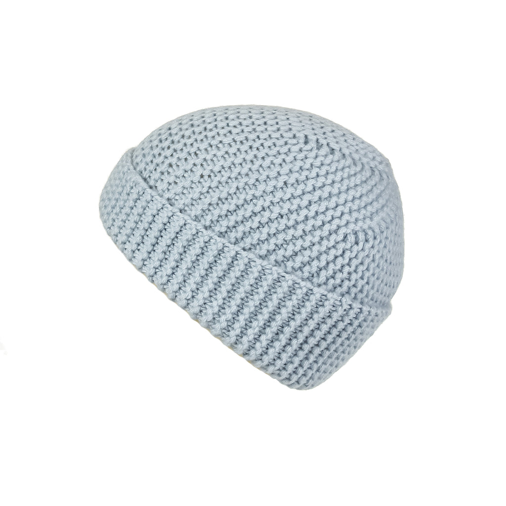 Pearl Stitched Light Blue Cashmere Hat, Hat - Loveknitz