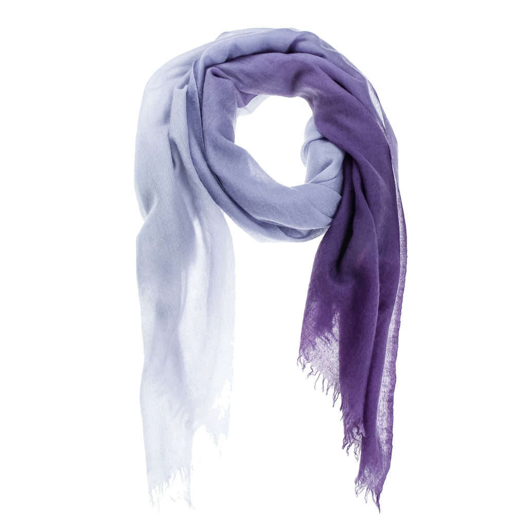 Purple Ombré Hand Woven Cashmere Wool Scarf, Scarves - Loveknitz