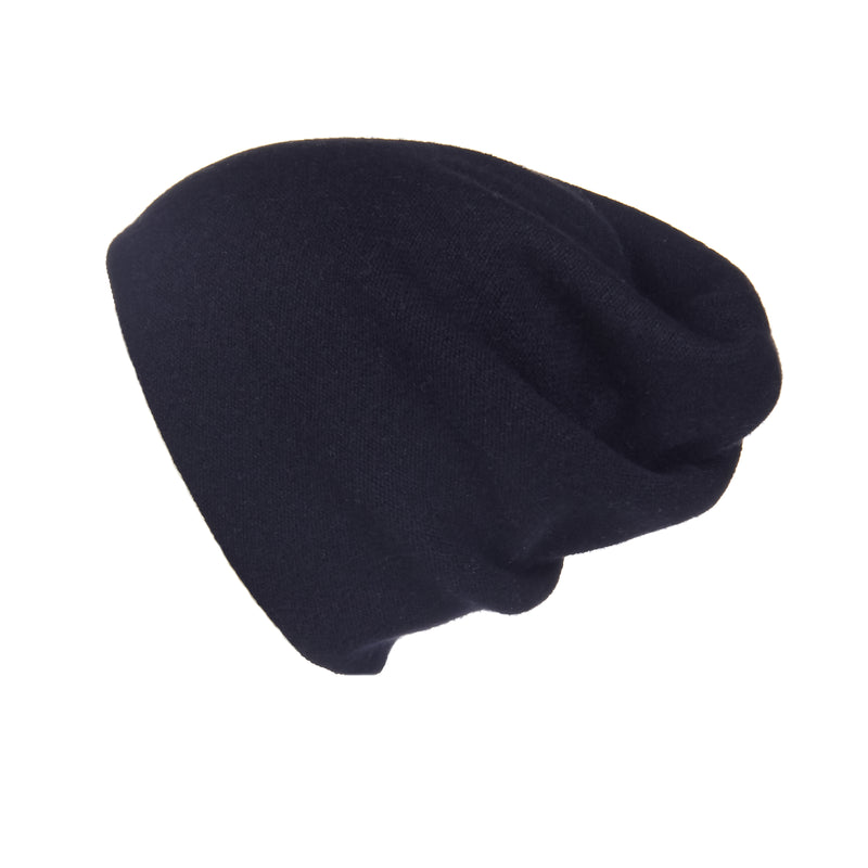 Reversible Slouchy Black Cashmere Hat with Gold Heart, Hat - Loveknitz