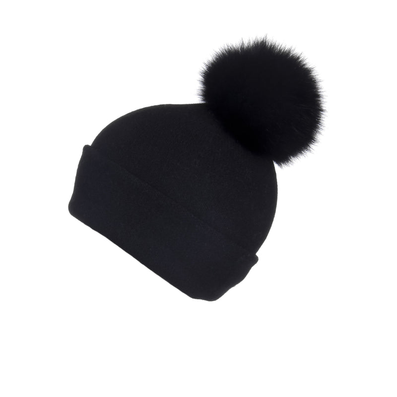 Reversible Slouchy Black Cashmere Hat with Black Pom-Pom, Hat with Pom - Loveknitz