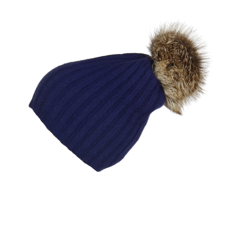 Ribbed Navy Cashmere Hat with Caramel Pom-Pom, Hat with Pom - Loveknitz