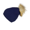 Ribbed Navy Cashmere Hat with Light Caramel Pom-Pom, Hat with Pom - Loveknitz