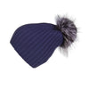 Ribbed Navy Cashmere Hat with Light Caramel Pom-Pom