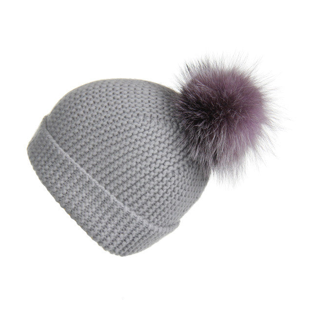 Pearl Stitched Light Grey Cashmere Hat with Lilac Pom-Pom, Hat with Pom - Loveknitz