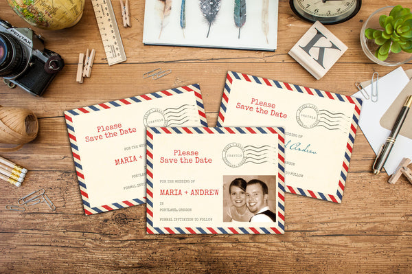 Vintage Airmail Save-The-Date, Wedding Announcement, Engagement Announcements