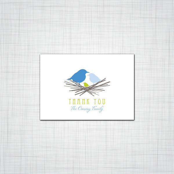 Birds in a nest Family Thank You Cards