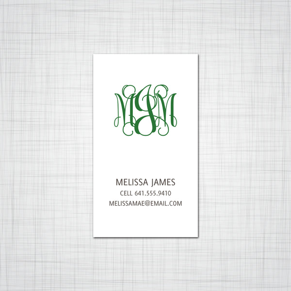 Elegant Monogram Business Card, Calling Card