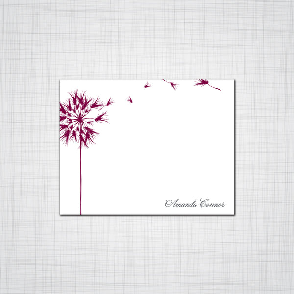 Floating Dandelion Flat Note Card, Set of Ten Note Cards with Envelopes