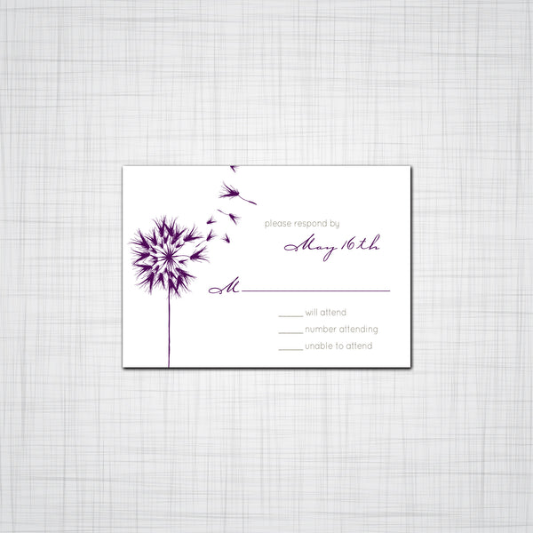 Dandelion Wedding Invitation Suite, Floral Wedding Invitations, Floral Event invitations