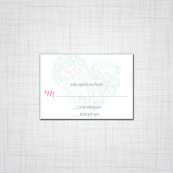 Floral Heart Wedding Invitation, Wedding Response Cards, Thank you Cards