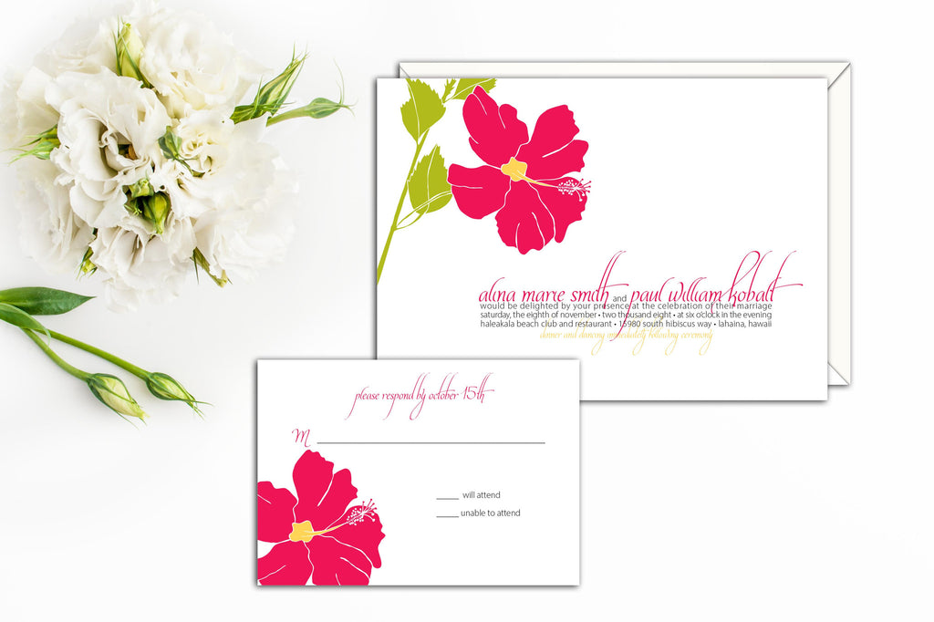 Elegant Hibiscus Blossom Wedding Invitation, Wedding Invitation Suite