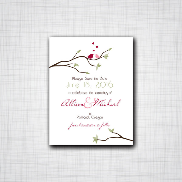 Love Birds Sitting in a Tree Save-The-Date, Engagement Announcement, Wedding Announcements