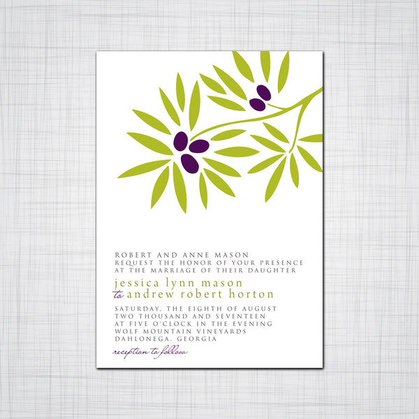 Olive Branch Wedding Invitation, Event Invitation, Thank you cards Response Cards
