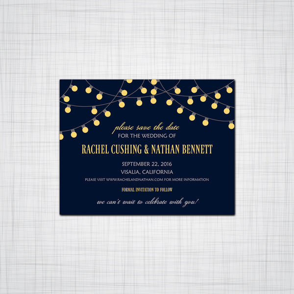 Party Lights Wedding Invitation, Party Event Invitation, Response cards, Thank You Cards