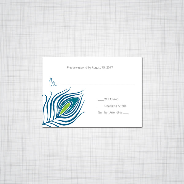 Peacock Feather Wedding Invitations, Bird Feather Event Invitations