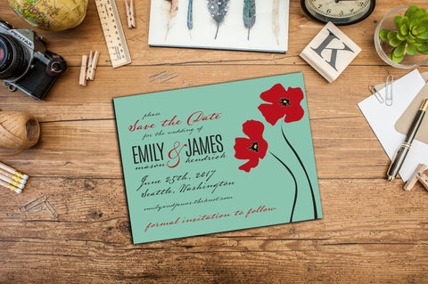 Vintage Poppies Save the Dates, Engagement Announcements