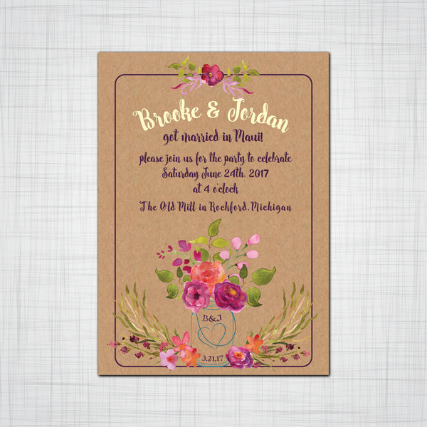 Rustic Mason Jar with Watercolor Floral Bouquet Wedding or Eloped Reception Invitation Suite