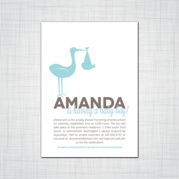 Stork Baby Shower or Birth Announcement