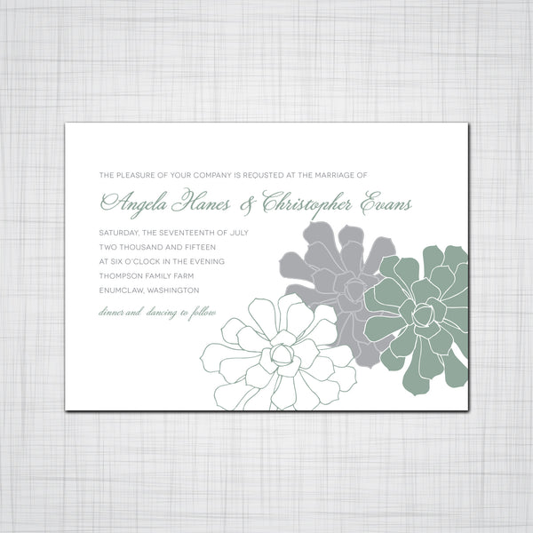 Simple Succulent Wedding Invitations, Succulent Event Invitations Suite