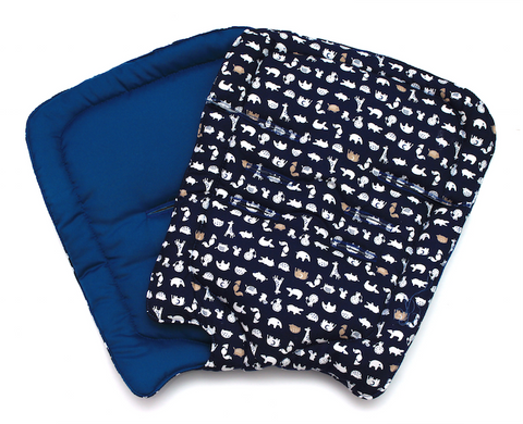 Navy Blue Animals Stroller Pad