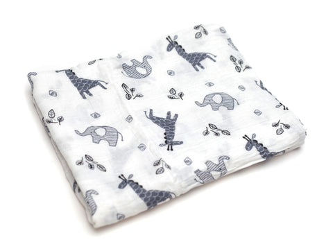 Muslin Blanket - Zoo Gray