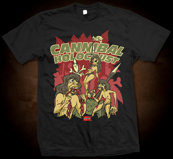 Official Grindhouse Line: Cannibal Holocaust Cartoon - Gildan Thick 6 oz T-Shirt