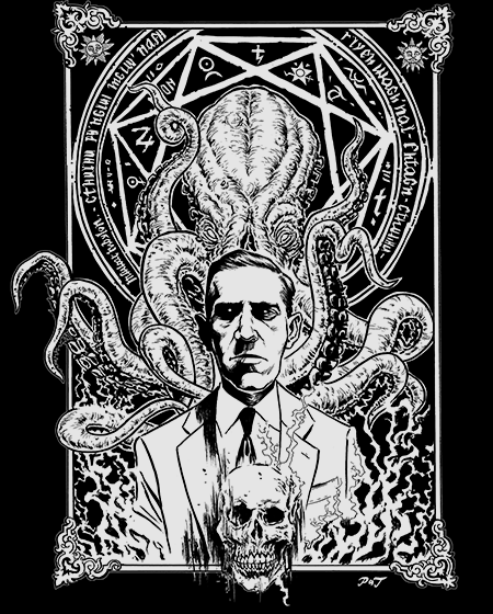 HP Lovecraft And Cthulhu One Color - Gildan Soft 4.5 Ounce T-Shirt