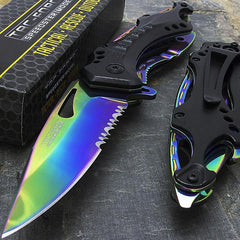 BEST OUTDOOR CAMPING KNIFE - TAC FORCE ASSISTED OPEN TACTICAL RAINBOW OUTDOOR FOLDING POCKET KNIFE TF-705RB