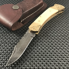 Unique Pocket Knife Damascus Steel Blade