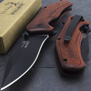 "7"" Elk Ridge Brown Wood Assisted Open Tactical Pocket Knife ER-A013PW - Frontier Blades"