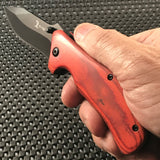 "ELK RIDGE RED WOOD ASSISTED OPEN FOLDING TACTICAL POCKET KNIFE Open Assist 7"" - Frontier Blades"