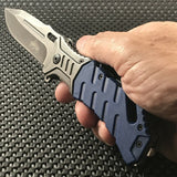 "8"" Master USA Blue Stonewashed Tactical EDC Pocket Knife MU-A022BL - Frontier Blades"