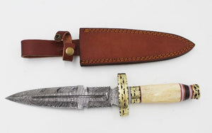 "14"" Bone Handle Real Damascus Steel Hunting Dagger Knife (DM-5018)"