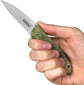 "7.0"" Assisted Kershaw Leek Tactical Camo Pocket Knife 1660CAMO - Frontier Blades"