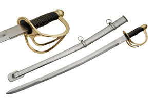 "27"" Civil War Cavalry Carbon Steel Authentic Replica Sword W/ Scabbard (901002-BI)"
