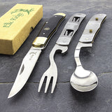 Elk Ridge Multitool Pocket Knife w/ Fork & Spoon Utensil Camping Knife - Frontier Blades