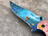 MASTER Collection Fantasy Copper Mermaid Ballistic Pocket Knife Royal Blue - Frontier Blades