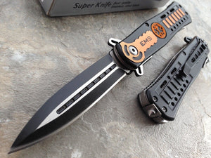 "8.5"" Tac Force EMS EMT Assisted Stiletto Dagger Orange Pocket Knife - Frontier Blades"