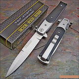 "8.5"" Tac Force Black & Silver Stiletto Pocket Knives (TF-428BW) - Frontier Blades"