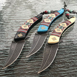 "8.5"" Indian Native American Spring Assisted Folding Knives MC-A023 Set - Frontier Blades"