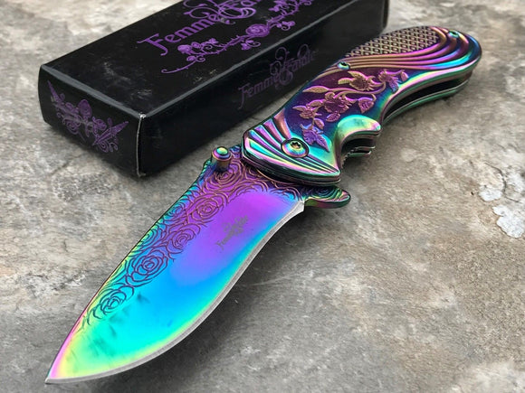Femme Fatale A/O Folding Knife Purple Rose Rhinestone 5