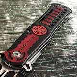 "8.75"" Tac Force Fire Man Assisted Red & Black Rescue Pocket Knife - Frontier Blades"