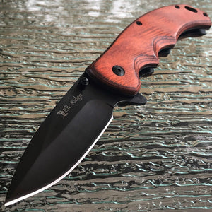 "8.25"" ELK RIDGE PAKKAWOOD SPRING ASSISTED FOLDING EDC KNIFE - Frontier Blades"