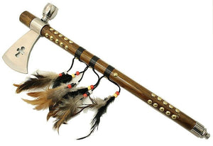 "19"" Indian Frontier Tomahawk Peace Pipe Axe Wood Handle w/ Feathers - Frontier Blades"