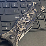 "8"" Tac Force Gray Dragon Fantasy Pocket Knife (TF-707GY) - Frontier Blades"