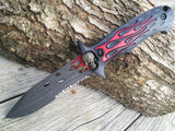 Dead Walker Stone Washed Red Flame Skull Bowie Dagger Hunter Knife - Frontier Blades
