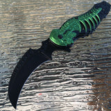 "9"" Tac Force Assisted Open Tactical Green Monster Folding Skull Knife - Frontier Blades"