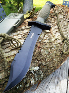 "12"" Survivor Military Bowie Fixed Blade Hunting Survival Knife HK-6001 - Frontier Blades"