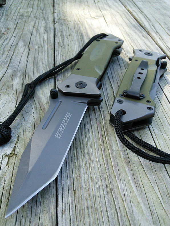 8 5 Military Combat Green Tanto Tactical Folding Rescue Pocket Knife